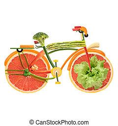 végétarien, ville, bike.
