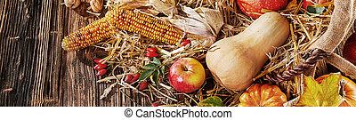 végétariens, fruit, panorama, automne, bannière