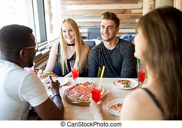 végétariens, nourriture organique, réunion, sain, manger, ami, pendant, maison