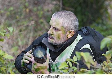 végétation, camouflé, guerre, photographe