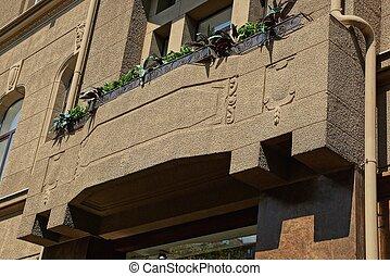 végétation, une, brun, vert, béton, balcon
