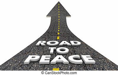 vég, béke, ábra, küzdelem, szavak, háború, út, 3