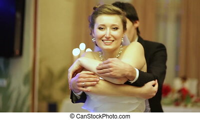 vég, közül, a, esküvő, táncol