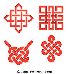 vég nélküli, buddhista, set., auspicious, hurok, jelkép.