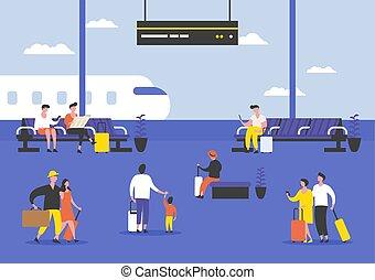 végső, utas, repülőtér, vagy, emberek