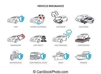 véhicule, assurance, icônes