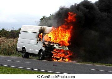 véhicule, brûlé, disastor