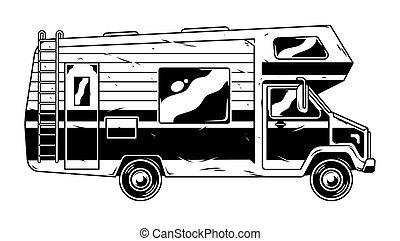 véhicule, campeur, voiture d'époque, récréatif
