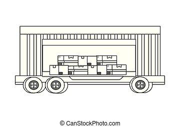 véhicule cargaison, récipient, camion, dessin animé
