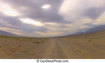véhicule, courses, désert, point-of-view