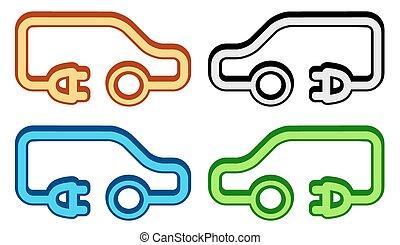 véhicule, ensemble, électrique, coloré, icône