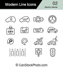 véhicule, ensemble, 2., électrique, eco, auto, concept., moderne, hybride, symbole., amical, voiture, ligne, icône, ou, design.