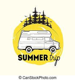 véhicule, logo, vecteur, contre, fond, illustration, ...