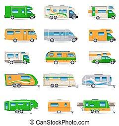 véhicule, récréatif, ensemble, icônes