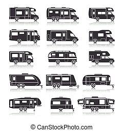 véhicule, récréatif, noir, icônes