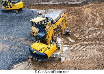 véhicule, site, construction, au-dessus