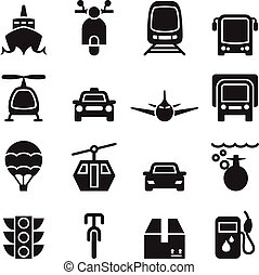véhicule, transport, vue, ensemble, icône, &, devant