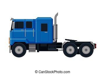 véhicule, vue, camion, plat, bleu, livraison, côté, vecteur, cargaison, illustration, fond blanc