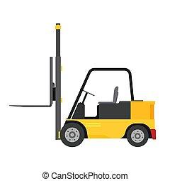 véhicule, vue, expédition, récipient, machine, équipement, isolé, élévateur, ascenseur, illustration, logistique, chargeur, côté, factory., warehouse., camion, cargaison, jaune, livraison, vecteur, distribution, icon., industrie, lourd