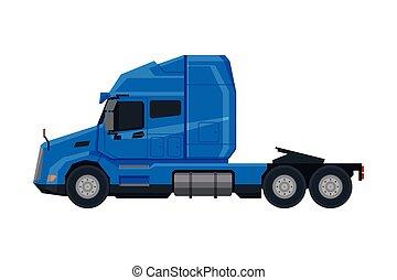 véhicule, vue, moderne, camion, plat, semi, bleu, livraison, vecteur, côté, cargaison, illustration, fond blanc