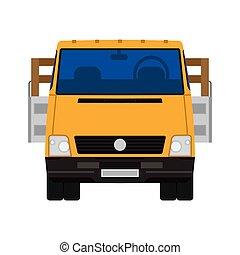 véhicule, vue, plat, isolé, logistique, expédition, voiture., devant, icône, commercial., camion, camion, cargaison, livraison, vecteur, fourgon, industrie, transport., automobile