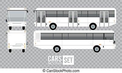 véhicules, autobus, voitures, icônes, mockup, blanc