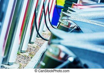 véhicules, charger, électrique