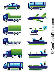véhicules, ensemble, icônes