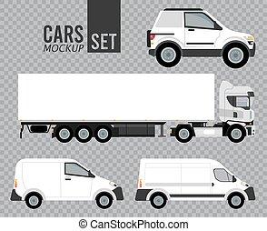 véhicules, ensemble, voitures, icônes, mockup, blanc