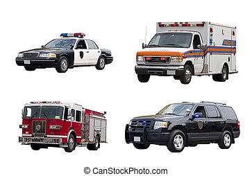 véhicules, isolé, urgence