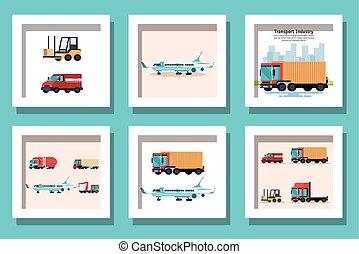 véhicules, paquet, transport, livraison
