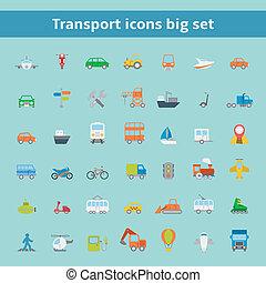 véhicules, plat, ensemble, transport, icônes