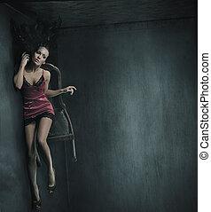 vékony rajzóra, fénykép, közül, egy, nő, képben látható, a, szék