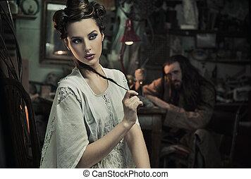 vékony rajzóra, fénykép, közül, gyönyörű woman, és, a, állat