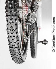 vélo, à, hiver, pneu