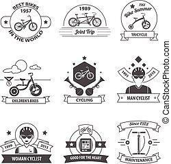 vélo, étiquette, ensemble