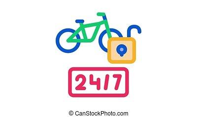 vélo, 24-hour, animation, partage, icône, services