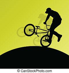 vélo, affiche, cyclistes, enfants, silhouettes, actif,...