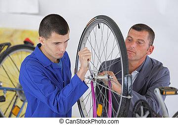 vélo, assembler, pneu