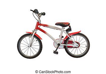 vélo, blanc rouge, fond, isolé