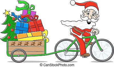 vélo, claus, délivrant dons, santa, noël