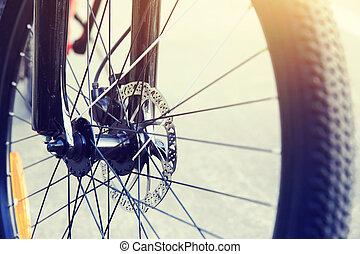 vélo, closeup, pneu