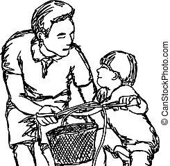 vélo, croquis, contour, lignes, cavalcade, père, isolé, illustration, fils, vecteur, arrière-plan noir, enseignement, dessiné, blanc, main
