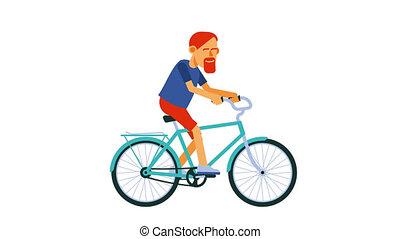 vélo, cycliste, bike., homme, équitation, barbu