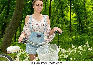 vélo, elle, parc, portrait, fille souriante