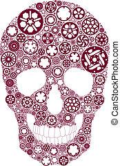 vélo, engrenage, crâne