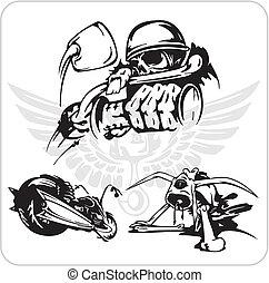 vélo, ensemble, vecteur, -, symbole.