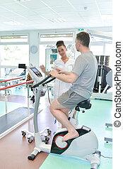 vélo exercice, patient, physiothérapie, hôpital, avoir