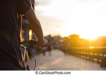 vélo, femme, city.