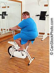 vélo, femme, excès poids, exercisme